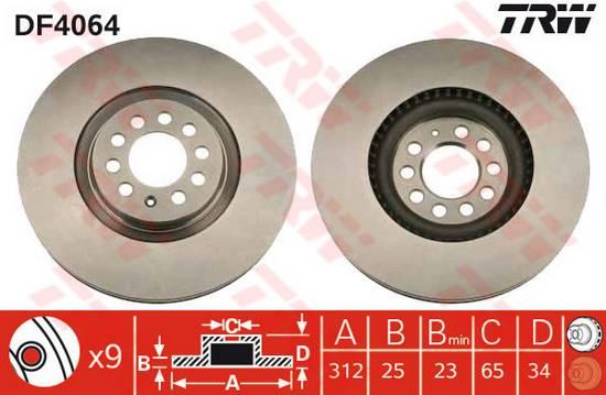 Brzdový kotouč přední Audi TT, Ibiza, Leon, Toledo, Octavia RS, Golf průměr 312 mm