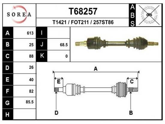Levá poloosa Ford Focus 1.8 TDDI, TDCI, 257ST86