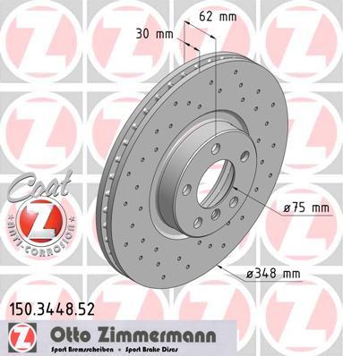 Přední vrtaný brzdový kotouč Zimmermann Bmw X5 E70, X6, 34116868938 průměr: 348 mm