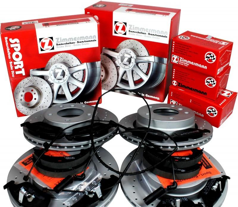 Set vrtané brzdové kotouče, desky, pakny, čidlo Bmw E60, E61, E63, E64 vrtané kotouče + brzdové pakny