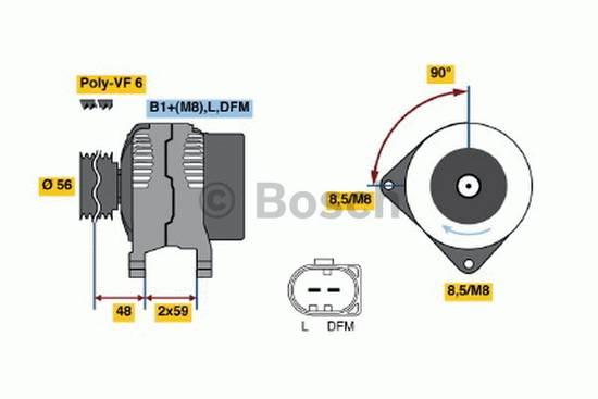 Alternátor Bosch 120A, Octavia, Golf, Polo, Ibiza, Audi, Sharan 028903028 s volnoběžkou